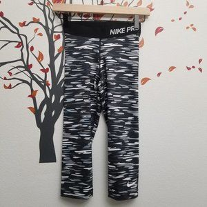 NIKE PRO Camo Leggings XS Dri Fit Black White Gray